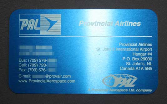 anodized business card